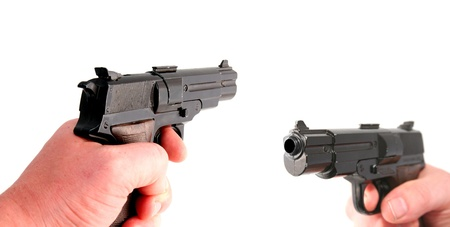 gun or pistol evidence of a crime or security and protection photo