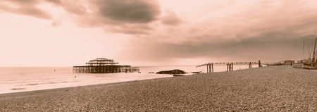 Brighton westpier and beach, the old burned down pier in evening light Stock Photo - 13127510