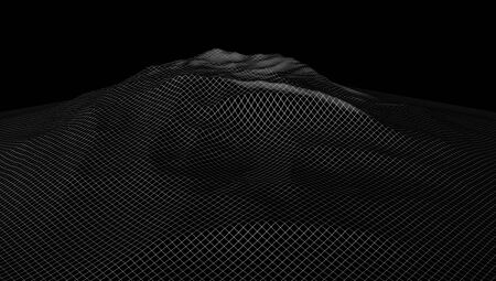 scifi: virtual reality landscape. 3d computer generated wireframe of hills in cyberspace