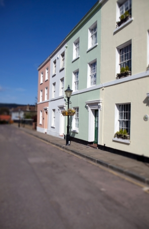 Townhouses in England, row of colorful buildings in town of Folkstone  English homes and street photo