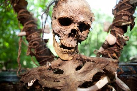 rituals: skeleton skull on stake, human sacrifice in jungle. creepy dead person