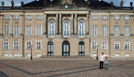 historic site: Danish Royal palace, Amalienborg castle residence of the Queen of Denmark in the capital copenhagen. Historical landmark and tourist attraction