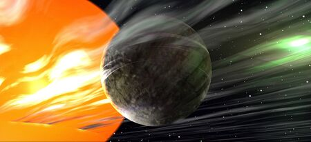 3D rendering of a planet close to a giant sun 版權商用圖片