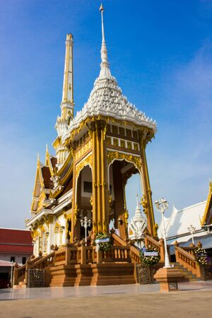Buildings temple of Thailand blue sky Stock Photo