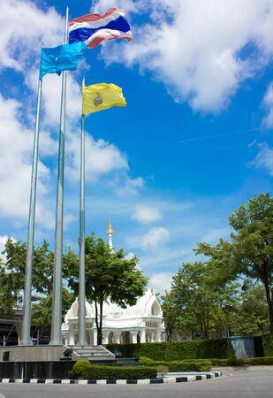 Blue Sky Pole flag symbol thailand photo