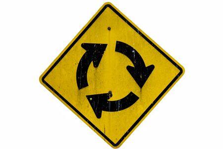 signal pole: Traffic Roundabout circle isolated Stock Photo