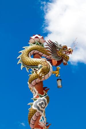 Sky Dragon ancient building pole photo