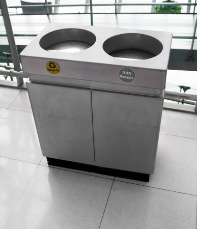 Recycle Trashcan Stainless steel in hall photo