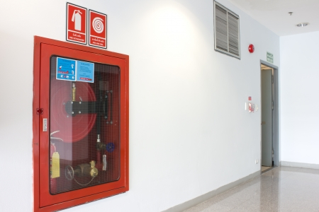 fire safety: Fire extinguishers emergency equipment Stock Photo