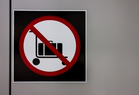 keep clean: Label Ban cart safety image Stock Photo