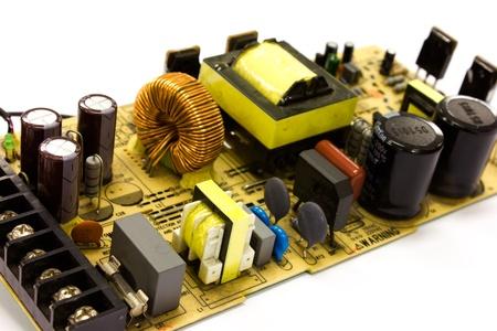 componentes: suministro el�ctrico tarjeta tecnol�gica Foto de archivo