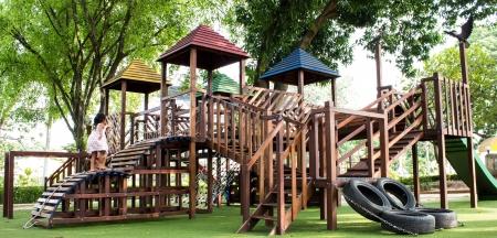 children Stairs Slides equipment Stock Photo