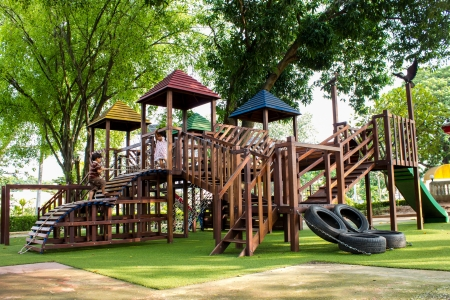 playground equipment: children Stairs Slides equipment Stock Photo