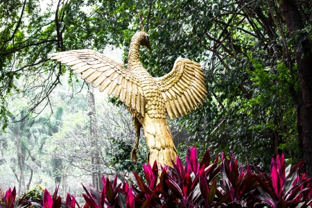 figure peacock gold Statue Winged Stock Photo - 16163737