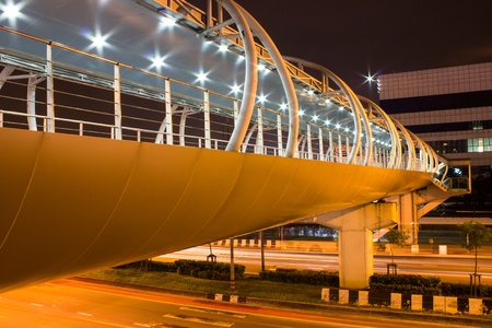 spacey: modern Overpass at Night Stock Photo