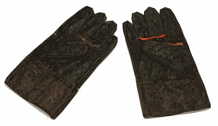 poster style Leather Gloves for Technician work safety photo