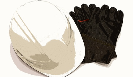 poster style Gloves and cap safety for Technician work safety photo