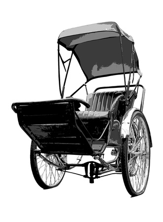 trishaw: Rickshaw travel transport old poster style