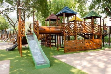 playgrounds: children Stairs Slides exercise equipment in garden