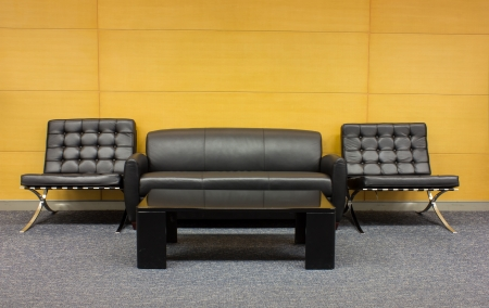 The sofa which is put in modern buildin photo