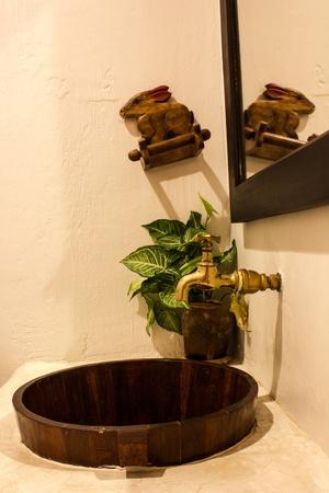 vintage basin design in toilet photo