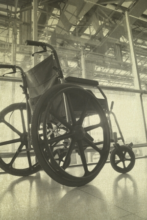 Wheelchair service in airport terminal vintage background Stock Photo - 22058993