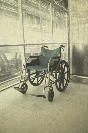 Wheelchair service in airport terminal vintage background Stock Photo - 22058995
