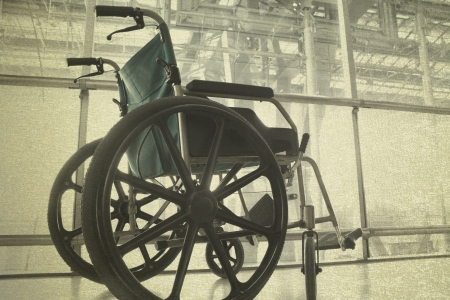 Wheelchair service in airport terminal vintage background photo