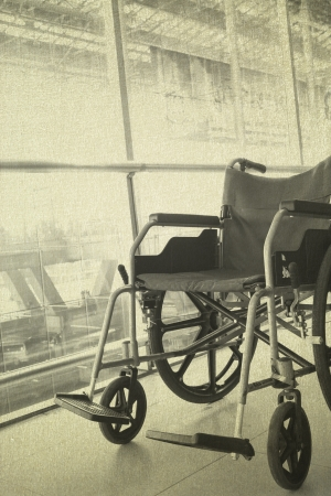invalidity: Wheelchair service in airport terminal vintage background Stock Photo