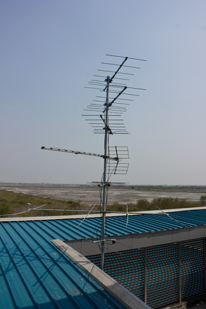 A Old Tv Antenna With Blue Sky Stock Photo, Picture And Royalty Free ...
