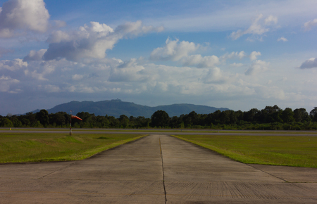 Airport Runway Beautiful Blue Sky with Clouds photo