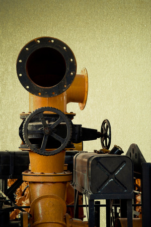 horse pipes: save selection to clipping path vintage machine engine yellow tone