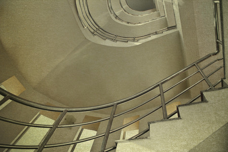 hotel building: vintage picture modern staircase in building hotel Stock Photo