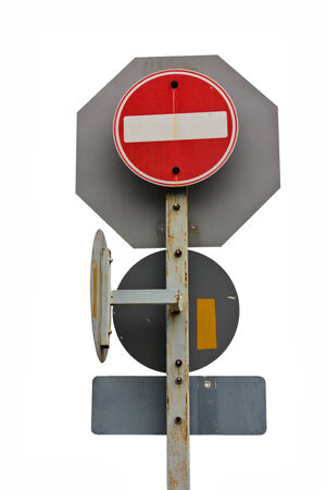 Save selection to clipping path traffic Signs safety transportation on the road photo
