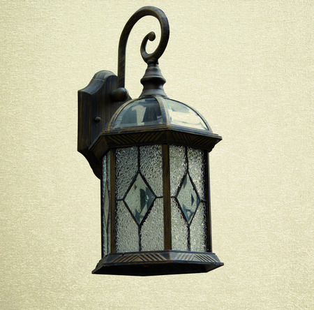 Save clipping path, Garden stone nature and lamp photo
