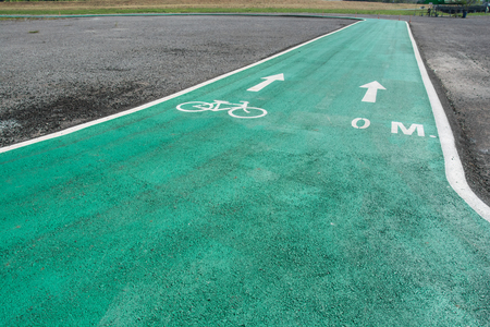 lanes: Green bike lanes Healthy Lifestyle Stock Photo