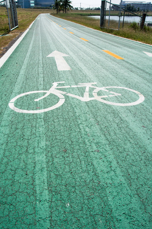 vanishing point: Green bike lanes Healthy Lifestyle Stock Photo