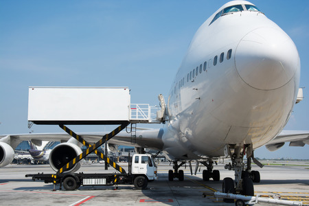 Airplane near the terminal in an airport cockpit
