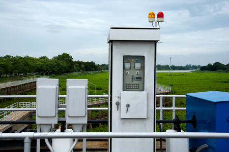 control box: Electric control box of floodgate on the river