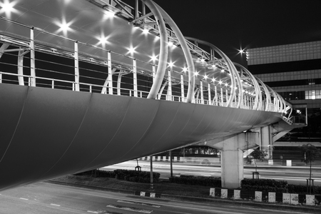 Black and white modern Overpass at Night