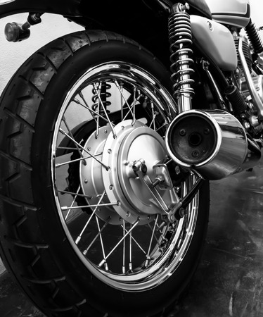 a motorcycle: Black and white vintage Motorcycle detail Stock Photo