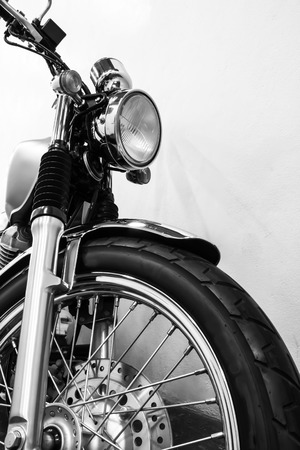 Black and white vintage Motorcycle detail Imagens