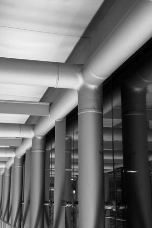 concourse: black and white Travelator Tunnel in Airport Concourse