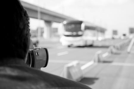 speeding: Black and white catch speeding drivers with a radar gun Stock Photo