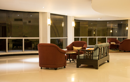 five stars: Sofa in modern lobby of five stars hotel Editorial