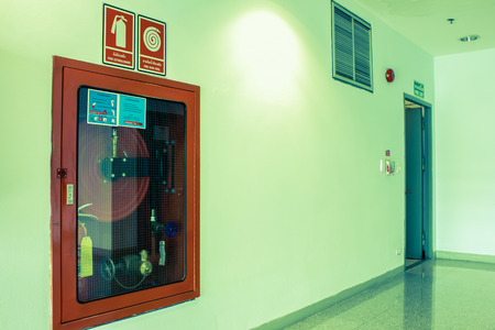 extinguishers: Fire extinguishers emergency equipment Stock Photo