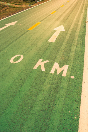 lanes: Green bike lanes Healthy Lifestyle, vintage color style Stock Photo
