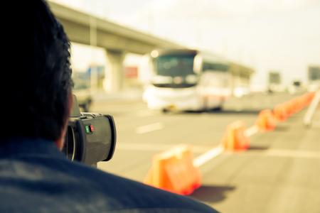 speeding: catch speeding drivers with a radar gun, vintage color style Stock Photo