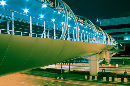 modern Overpass at Night, vintage color style