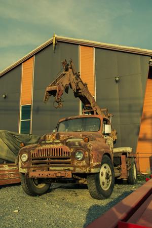 mobile crane: mobile crane Construction Machinery, vintage color style